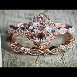 Antique floral halo bridal engagement rose gold